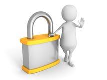 Witte 3d mens met oranje hangslot Het concept van de veiligheid Royalty-vrije Stock Afbeelding