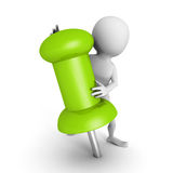 Witte 3d mens met reusachtige groene punaise Stock Fotografie
