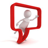 Witte 3d mens met rode lege toespraak communicatie bel Royalty-vrije Stock Afbeeldingen