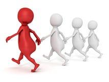 Witte 3d mensen die met rode leider lopen Royalty-vrije Stock Foto