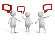 Witte 3d Mensen die met Toespraakbellen spreken Stock Afbeeldingen