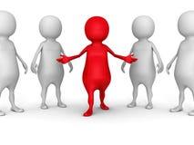 Witte 3d mensengroep met de rode leidersmens Stock Afbeelding