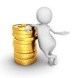 Witte 3d Person With Stack Of Golden-Dollarmuntstukken Royalty-vrije Stock Foto