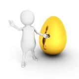 Witte 3d persoon die zich met gouden ei bevinden royalty-vrije illustratie