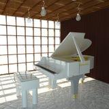 Witte 3d piano, Stock Afbeeldingen