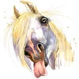 Witte de T-shirtgrafiek van de paardkus paardillustratie met de geweven achtergrond van de plonswaterverf Stock Afbeeldingen