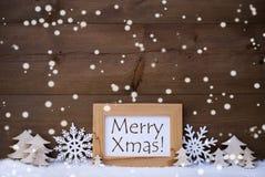 Witte de Tekst Vrolijke Kerstmis van de Kerstmisdecoratie, Sneeuw, Sneeuwvlokken Royalty-vrije Stock Foto