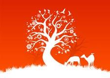 Witte de winterbomen Stock Illustratie