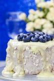 Witte die chocoladecake met bosbessen wordt verfraaid Royalty-vrije Stock Fotografie