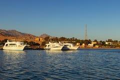 Witte die cruiseschepen in de haven in Dahab worden vastgelegd Landschap van Rode Overzees met mooie kustlijn en bergen bij de ac royalty-vrije stock fotografie