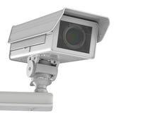 Witte die kabeltelevisie-camera of veiligheidscamera op wit wordt geïsoleerd Stock Afbeeldingen