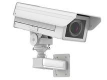 Witte die kabeltelevisie-camera of veiligheidscamera op wit wordt geïsoleerd Stock Afbeelding