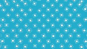 Witte die kubussen door een kader worden omringd die zich langzaam op een turkooise achtergrond bewegen 3d geef terug stock illustratie