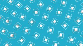 Witte die kubussen door een kader worden omringd die zich langzaam op een turkooise achtergrond bewegen 3d geef terug vector illustratie
