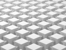 Witte die kubussen door verbindingen worden verbonden Verbonden het conceptenachtergrond van het kubussennetwerk 3D Illustratie Stock Afbeeldingen