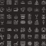 Witte die lijnpictogrammen voor restaurant worden geplaatst Royalty-vrije Stock Afbeeldingen