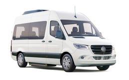 Witte die minibus op wit wordt geïsoleerd Stock Afbeeldingen