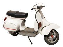 Witte die scooter op wit wordt geïsoleerd Royalty-vrije Stock Fotografie