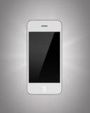 Witte die smartphone op een grijze achtergrond wordt geïsoleerd Stock Afbeeldingen