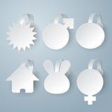 Witte die wobbler op grijze reeks wordt geplaatst als achtergrond stock illustratie