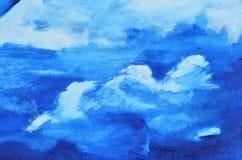 Witte die wolken op canvas in blauw wordt geschilderd stock afbeeldingen