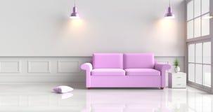 Witte die woonkamer met purpere bank wordt verfraaid Stock Afbeeldingen