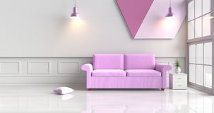 Witte die woonkamer met purpere bank wordt verfraaid Stock Afbeelding