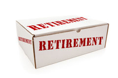 Witte Doos met Pensionering aan Geïsoleerde Kanten Royalty-vrije Stock Foto's