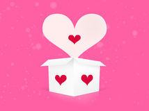 Witte doos met valentijnskaartharten Royalty-vrije Stock Foto's