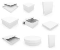 Witte dozen over witte achtergrond Stock Foto
