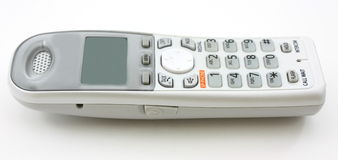 Witte draagbare horizontale huistelefoon, Stock Foto's
