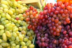 Witte druiven en rode druiven, close-up stock foto