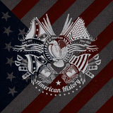 Witte druk met adelaar en uitstekende wapens op de vlagachtergrond van de V.S. Stock Foto's