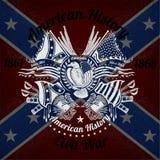 Witte druk met adelaar en uitstekende wapens op Verbonden vlagachtergrond Royalty-vrije Stock Fotografie