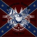 Witte druk met bizon hoofd en uitstekende wapens op Verbonden vlagachtergrond Stock Afbeelding