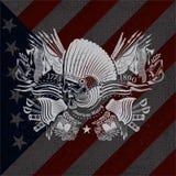 Witte druk met Indische hoofd en uitstekende wapens op de vlagachtergrond van de V.S. Stock Afbeelding