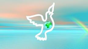 Witte duif die met binnen aarde vliegt Stock Foto's