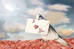 Witte duif met brief vector illustratie