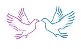 Witte Duiven als conceptenliefde of Vrede abstracte vectorillustratie Royalty-vrije Stock Afbeelding