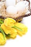 Witte eieren in een mand royalty-vrije stock fotografie