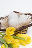 Witte eieren in een mand royalty-vrije stock foto
