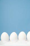 Witte eieren in een rij met blauwe achtergrond Stock Foto's