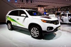 Witte elektrische auto Kia Sorento Stock Foto