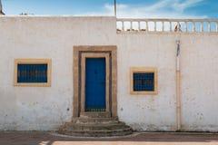 Witte en blauwe architectuur, Marokko royalty-vrije stock fotografie
