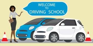 Witte en blauwe drijfschoolauto, Afrikaanse Amerikaanse vrouwelijke instructeur royalty-vrije illustratie