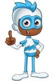 Witte en Blauwe Superhero - Hebbend een Idee Stock Afbeelding