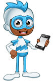 Witte en Blauwe Superhero - Holdings Mobiele Telefoon Stock Fotografie