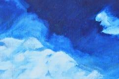 Witte en blauwe vlekken van waterverfverf op canvas royalty-vrije stock foto
