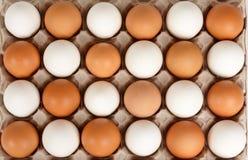 Witte en bruine eieren in gewankelde orde Stock Afbeeldingen