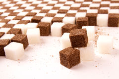 Witte en bruine suiker. royalty-vrije stock fotografie